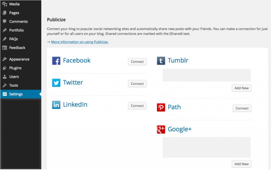 WordPress automatic sharing