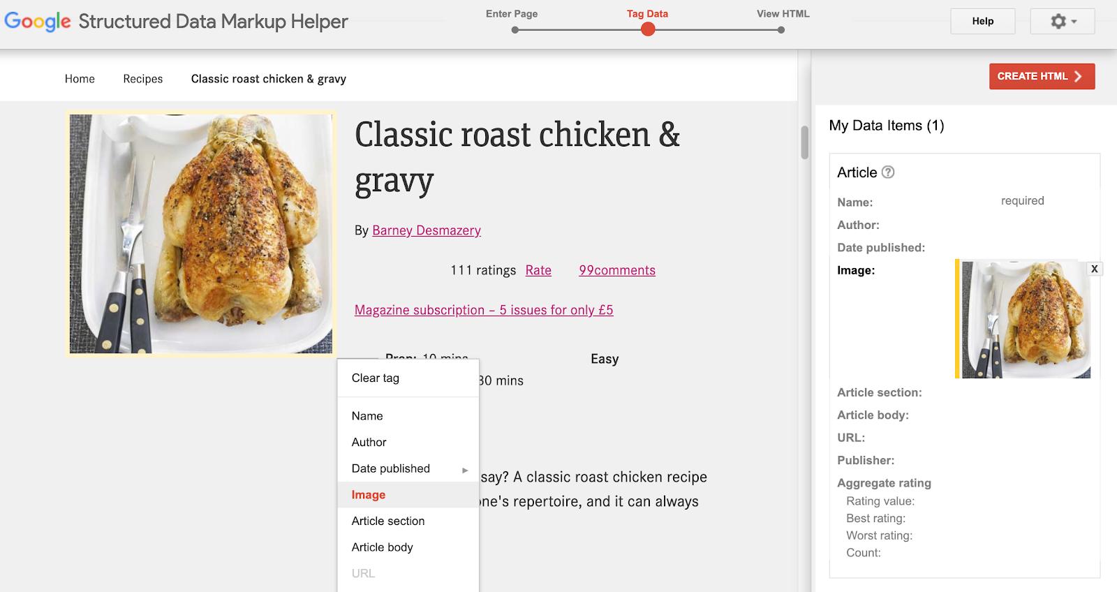 google structured data markup helper screenshot