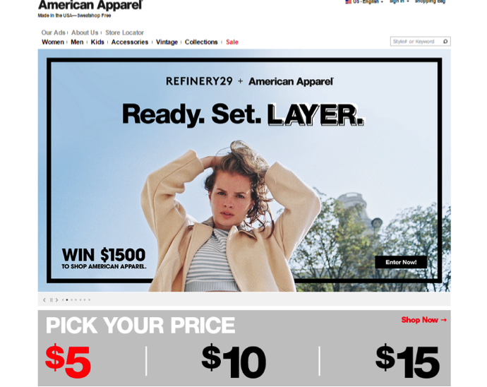 American Apparel Screenshot