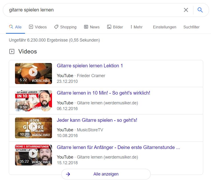 Videos im Google-Suchergebnis