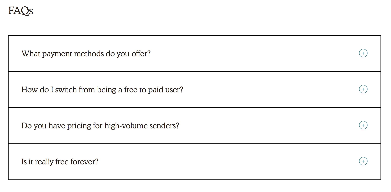 Esempi di microcopy: Mailchimp FAQ page