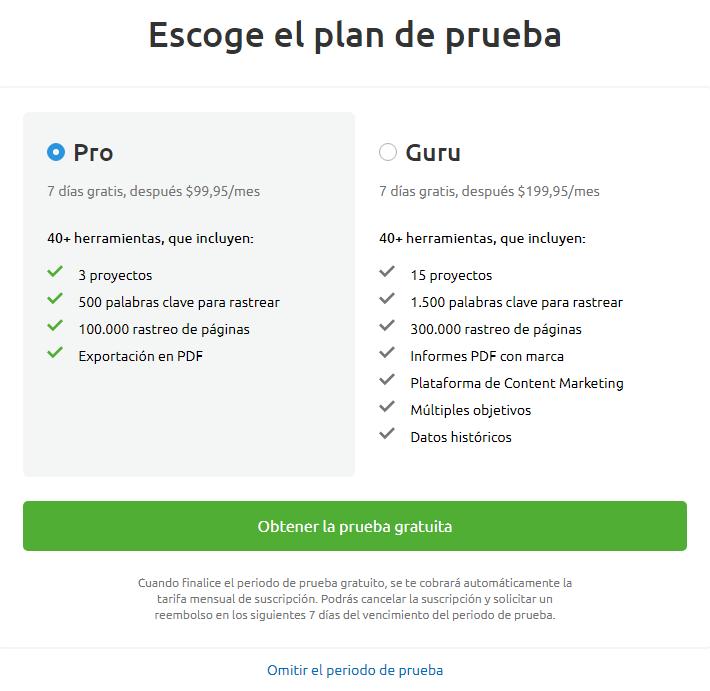 Cuenta gratis de SEMrush - Plan de prueba