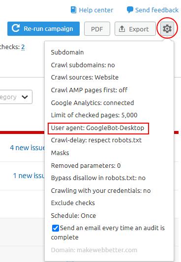 user agent change site audit tool semrush