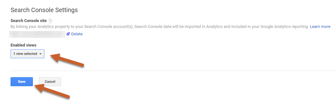 Search Console reporting view in Google Analytics