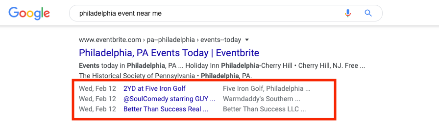 Example of structured data for events in the SERPs