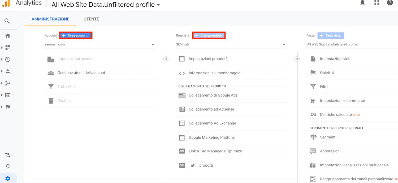 come aggiungere proprietà e account su google analytics