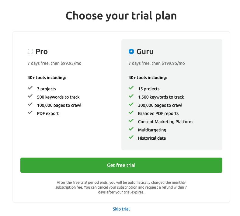 SEMrush pricing for Pro and Guru plan