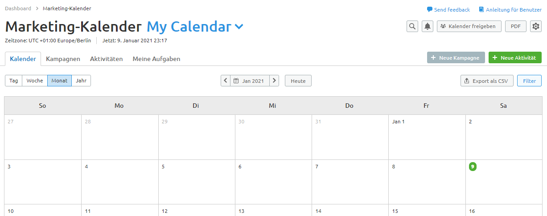Screenshot Semrush Marketing-Kalender