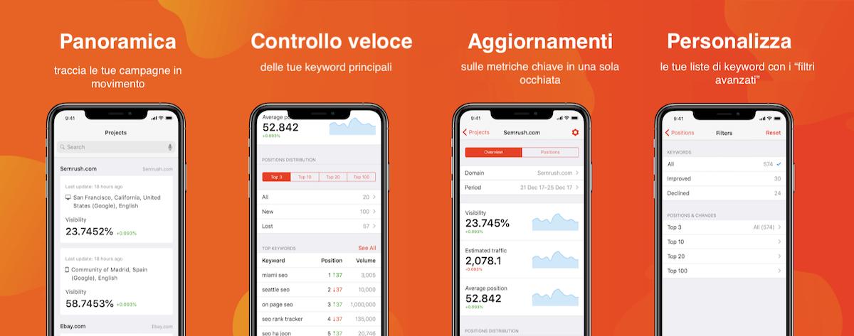 la app mobile di position tracking