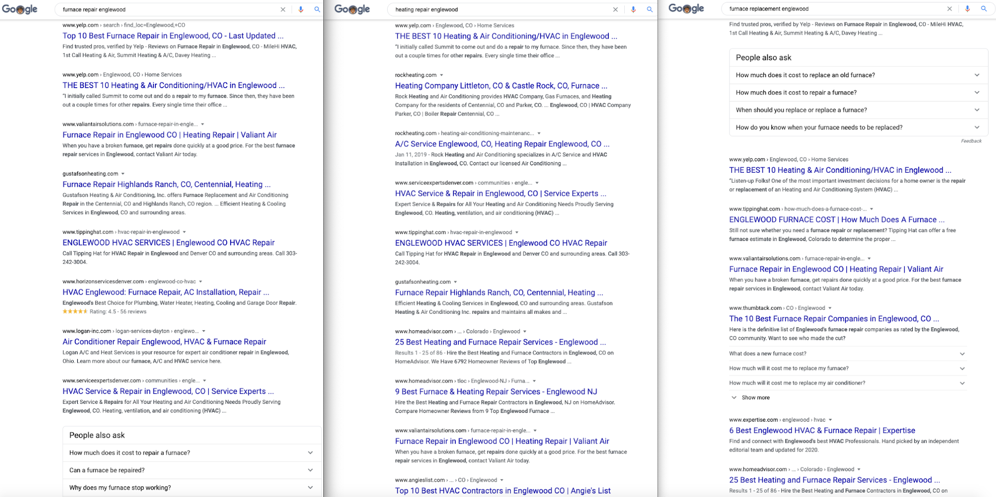 Local SERP examples