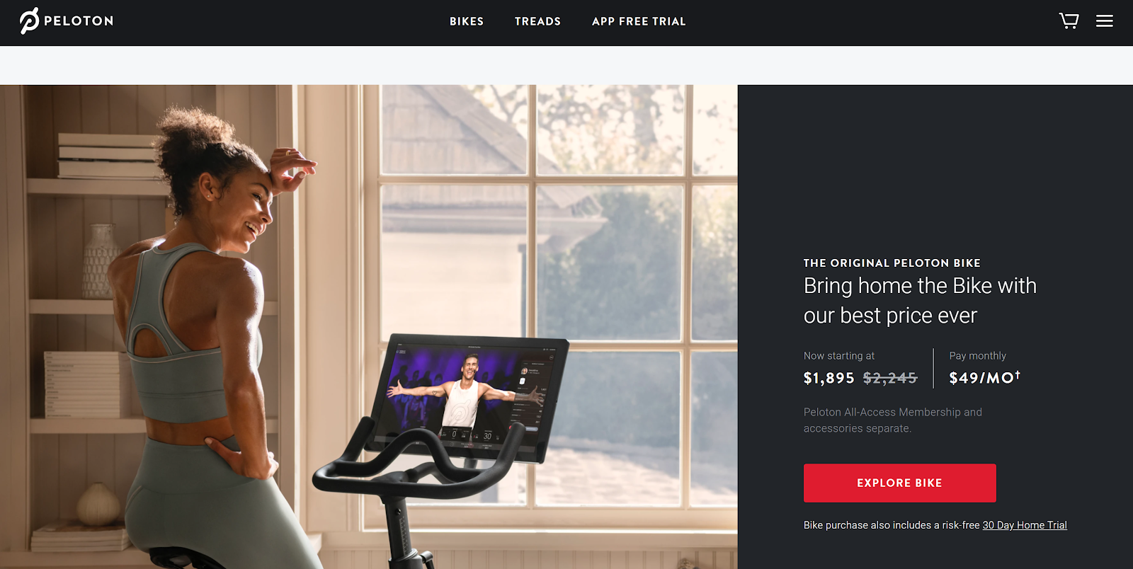 Peloton landing page and CTA example