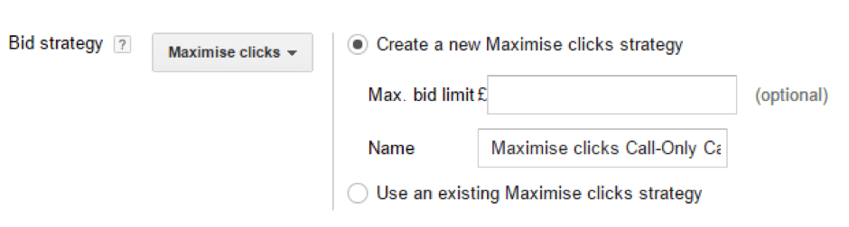 Call-only AdWords ad bid strategy.