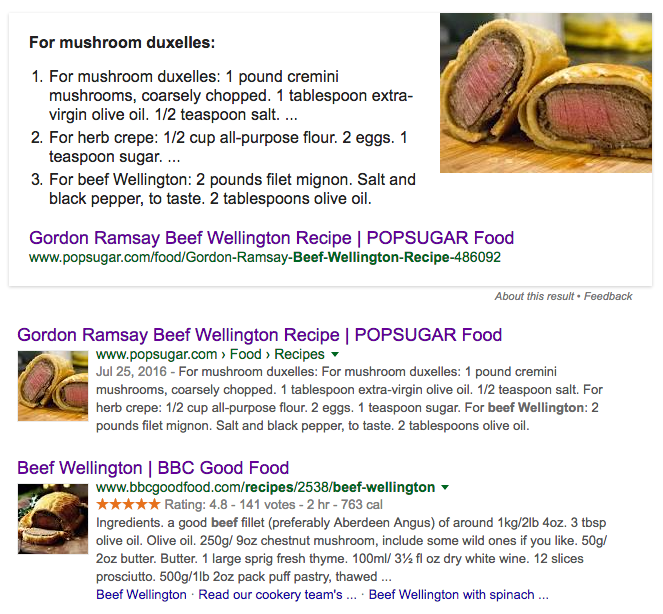 L'exemple des SERP features, featured snippet liste