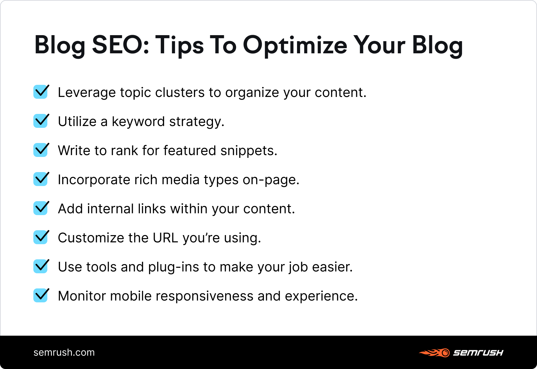 Blog SEO tips list infographic
