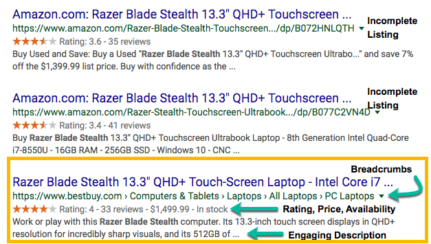 A screenshot of search results noting both incomplete and complete rich snippets