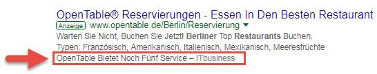 Google Ads Rezensionserweiterung