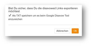 Google Disavow Tool - Export