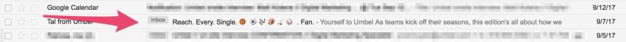 Come usa Umbel gli emoji negli oggetti delle email