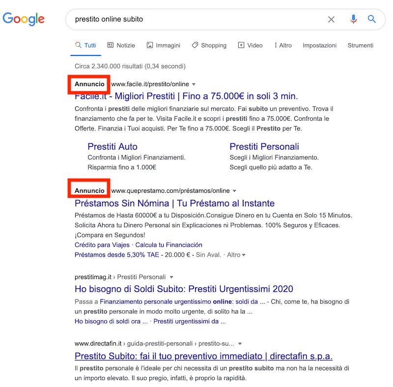 risultati di ricerca per la keyword prestiti online subito