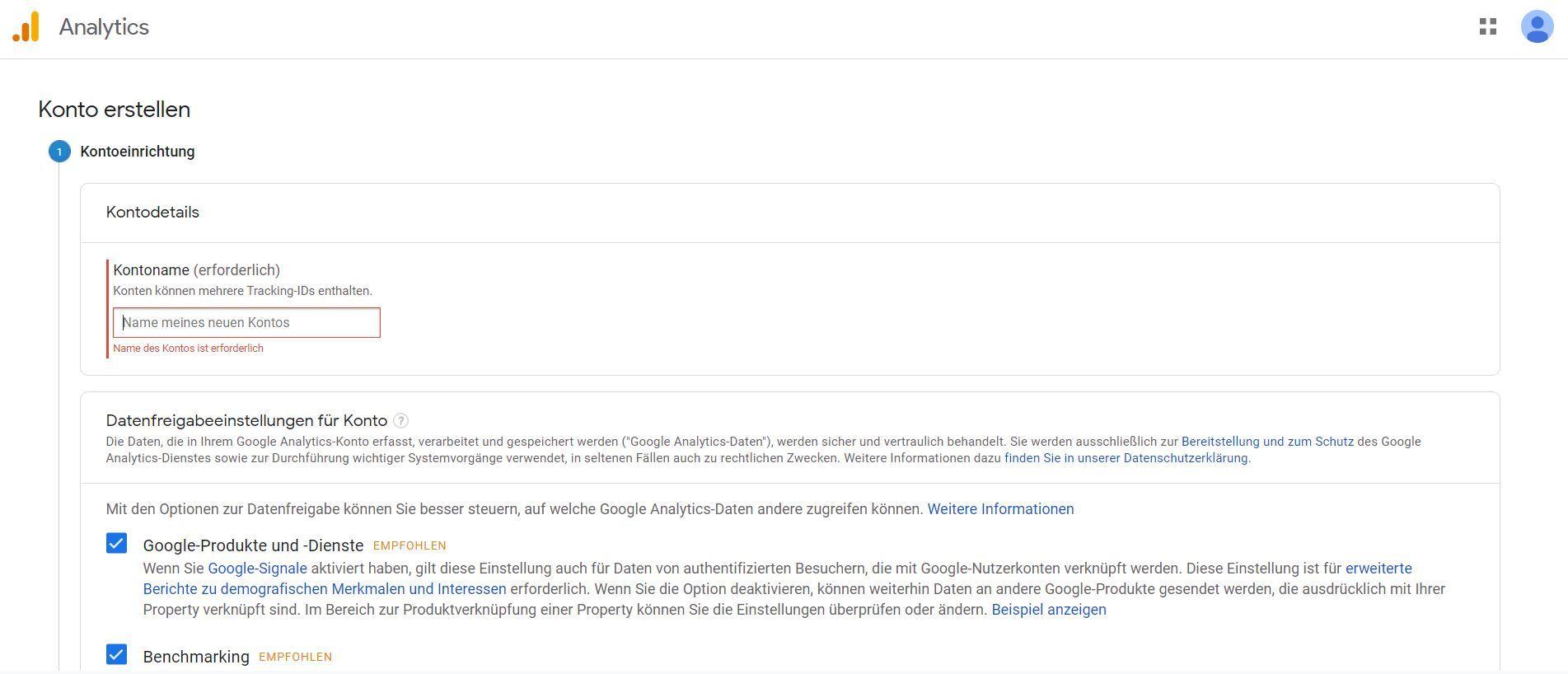 Google Analytics: Konto erstellen