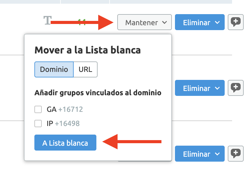 Analizar backlinks y enlaces SEO - Lista blanca