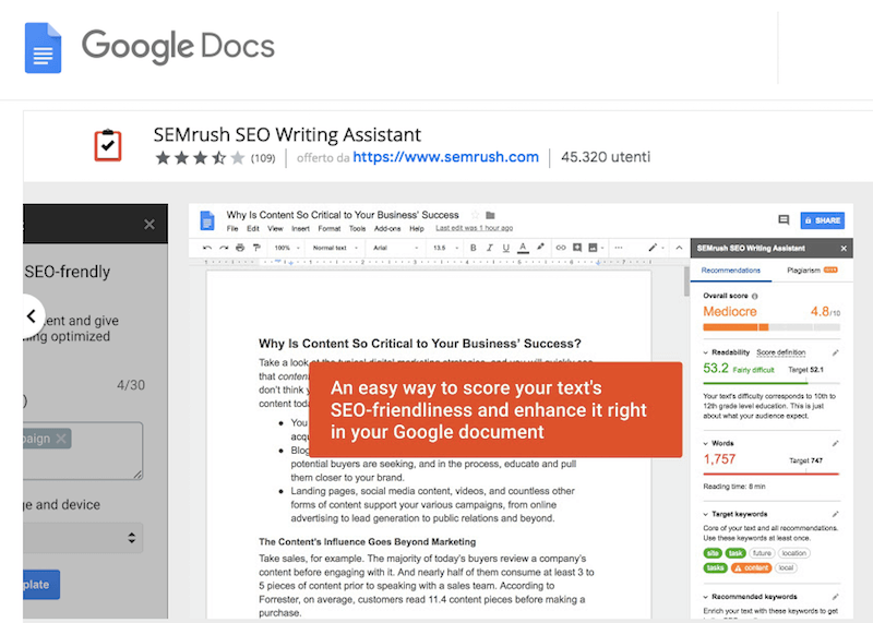 SEO writing assistant per Google Drive per scrivere blog post di successo
