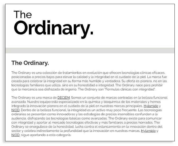 Textos narrativos para empresas - The Ordinary