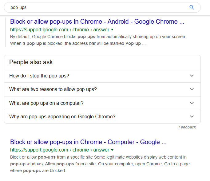 Pop-ups Google search