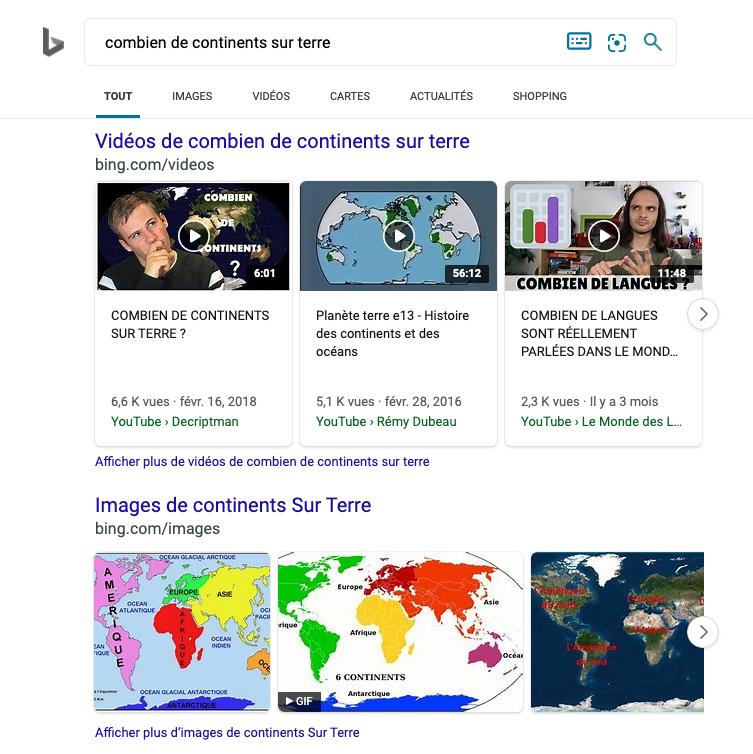 Classement candidats images et vidéos de Bing