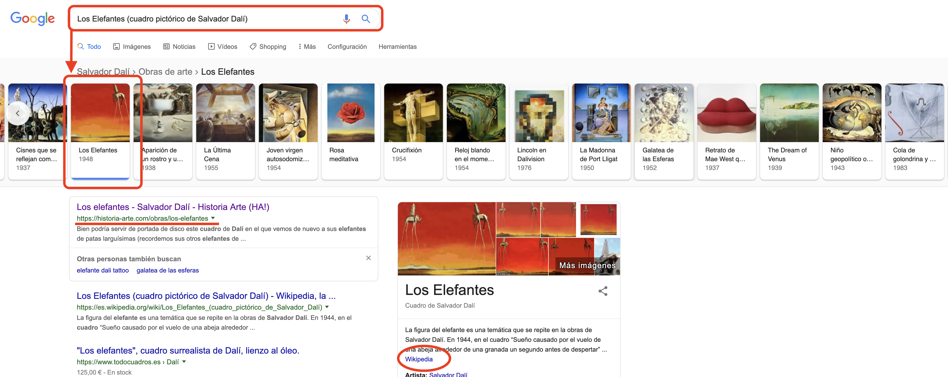 SERPs - Los Elefantes (cuadro pictórico de Salvador Dalí)
