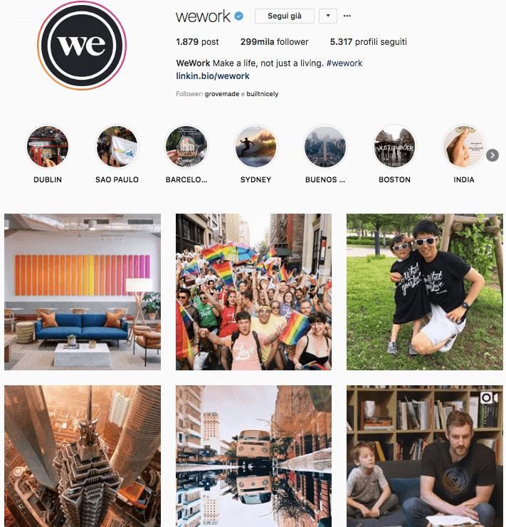 Pagine Instagram da seguire: WeWork