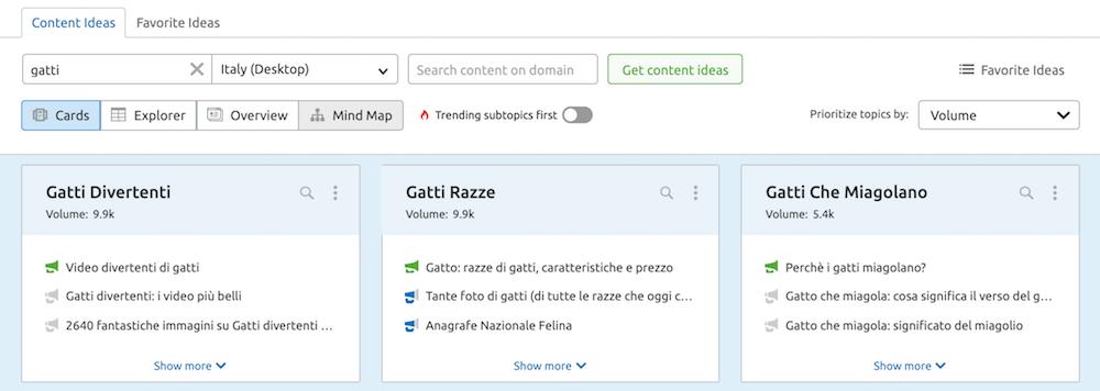 Trova idee per i tuoi contenuti con Topic research