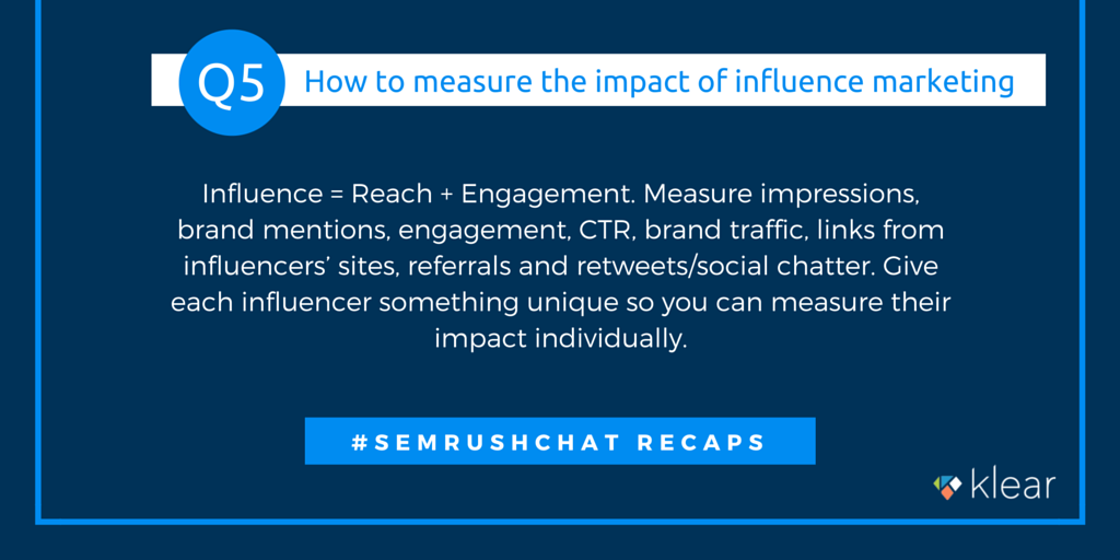 SEMrush chat - Influence marketing Q5