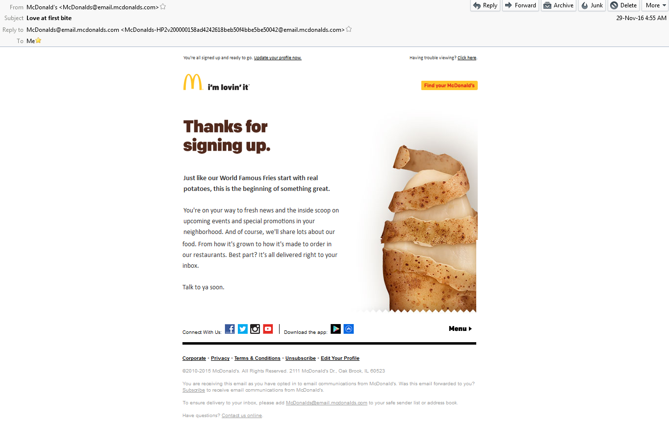 Mc Donalds Thanks for Signing up