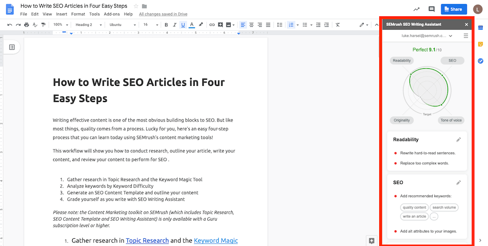 il plugin di semrush ti aiuta a scrivere in ottica seo i tuoi contenuti