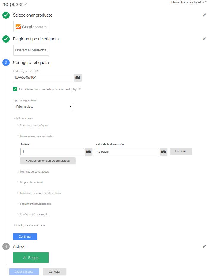 Valor de la dimensión Google Analytics