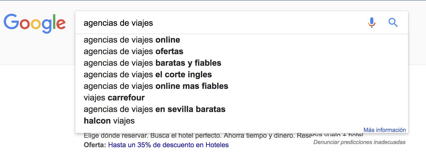 """SEO para agencias de viajes - Sugerencias de búsquedas sobre """"agencias de viajes"""" en España"""