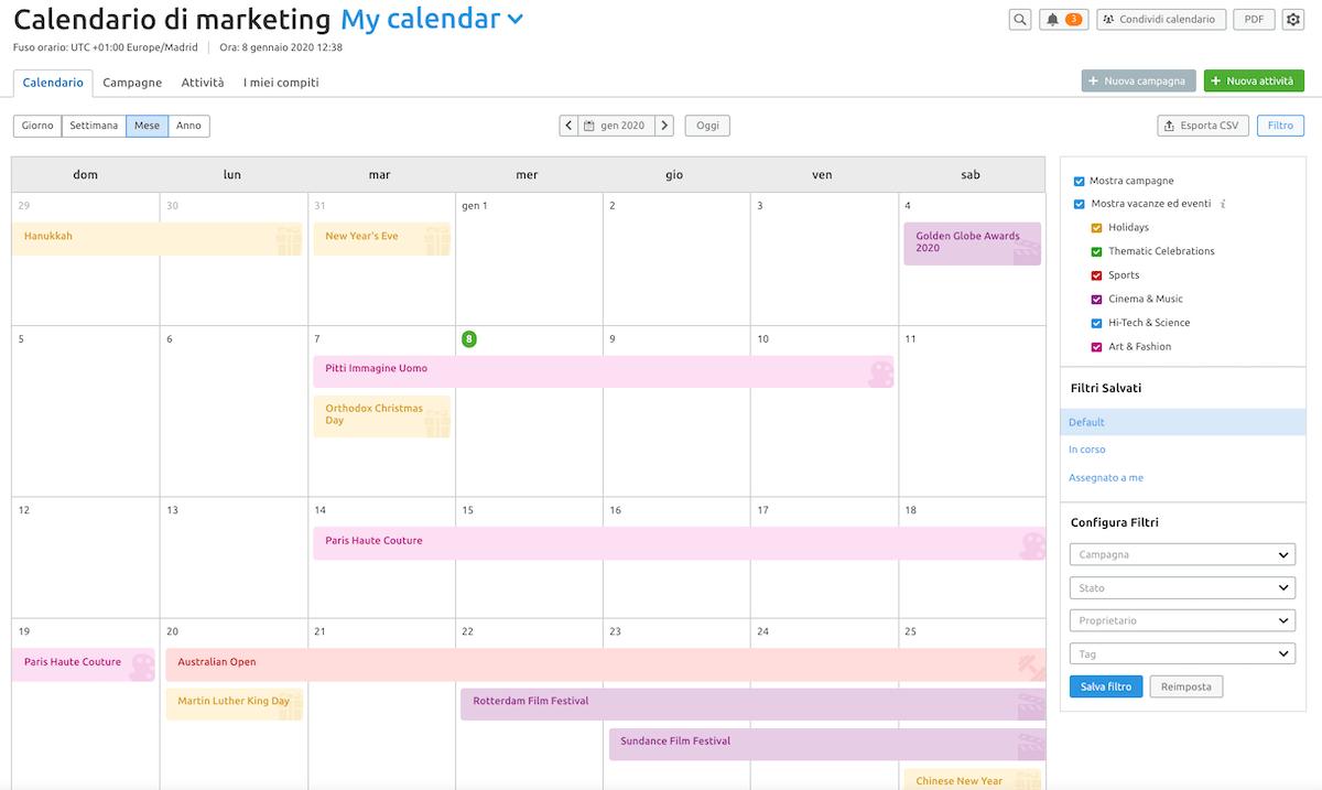 il nuovo calendario di marketing di semrush
