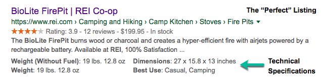 A screenshot of a picture perfect rich result listing from REI