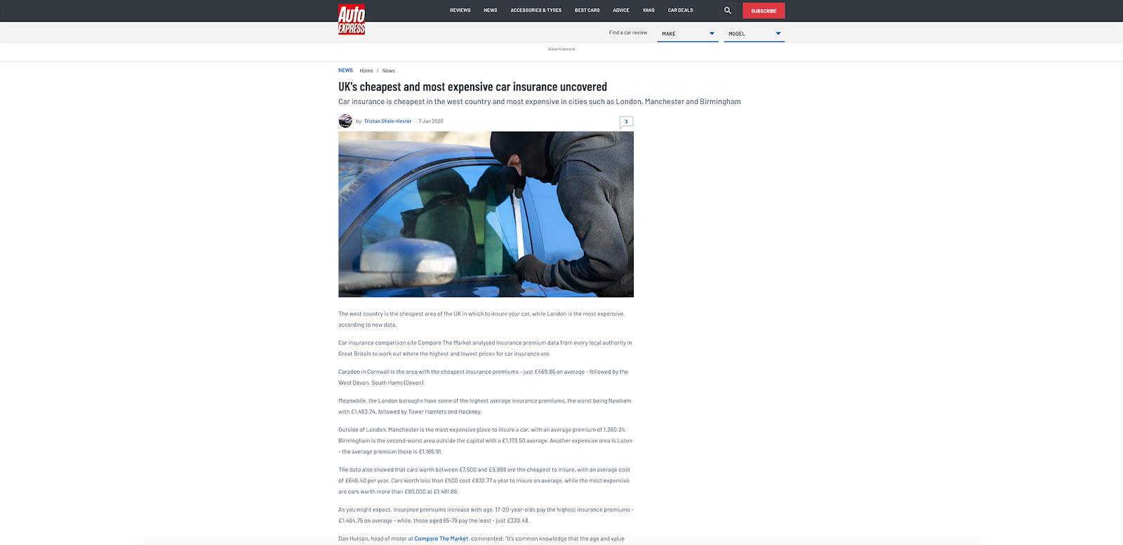 Toxic Backlinks - Ejemplo Auto Express