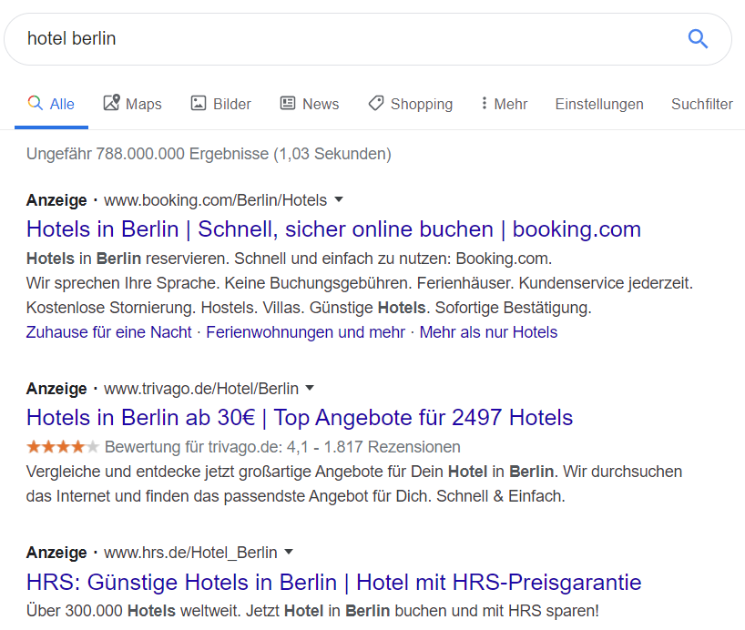 Neue Anzeigenmarkierungen im Google-Suchergebnis