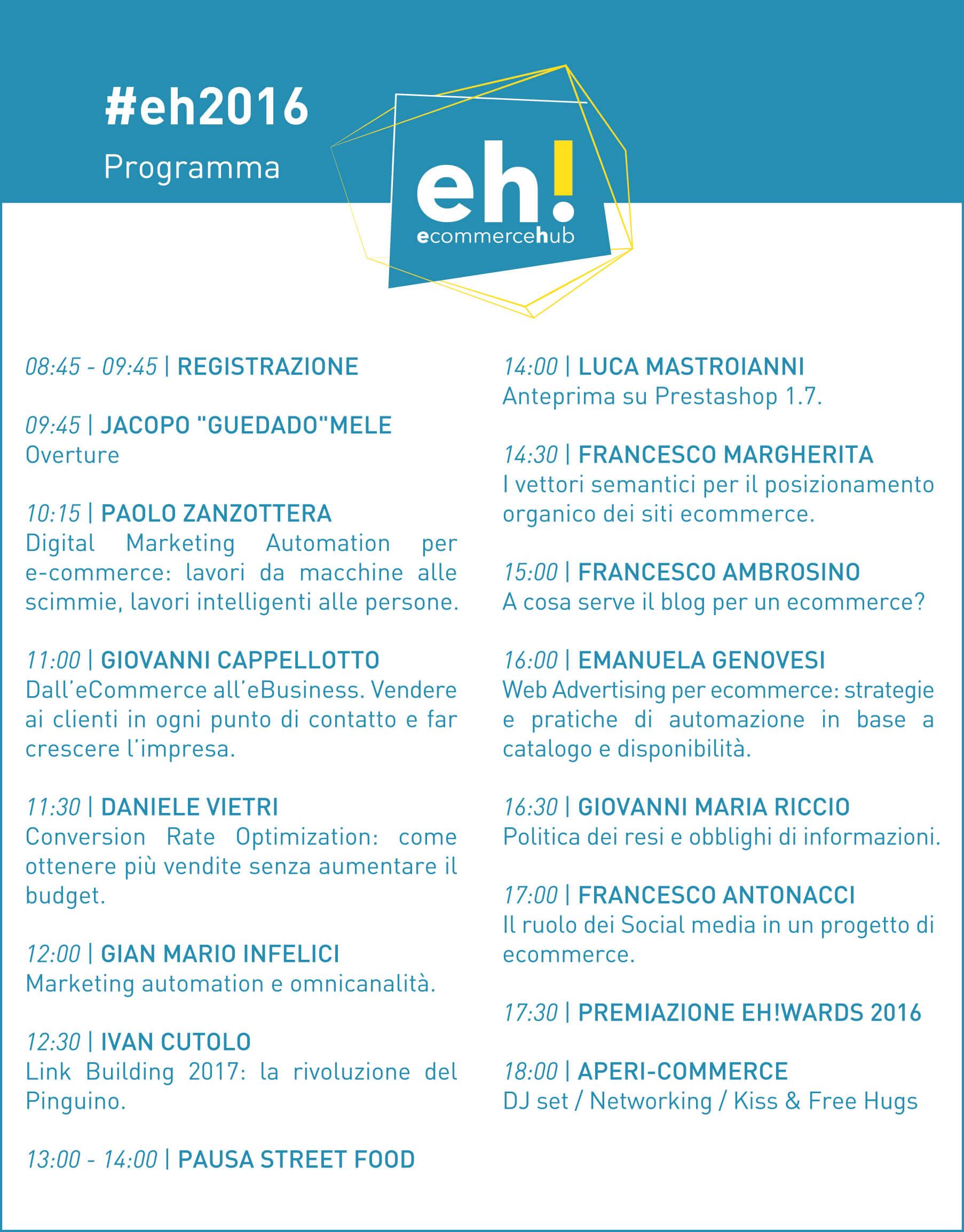 Ecommerce HUB 2016: il programma