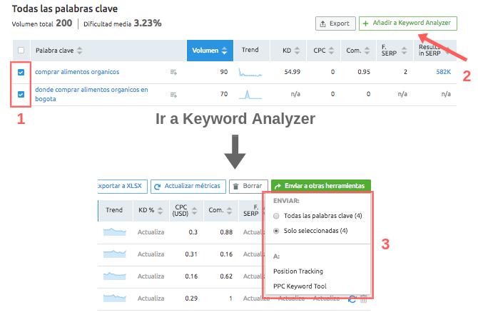 Cómo hacer PPC en PYMEs: Add to Keyword analizer