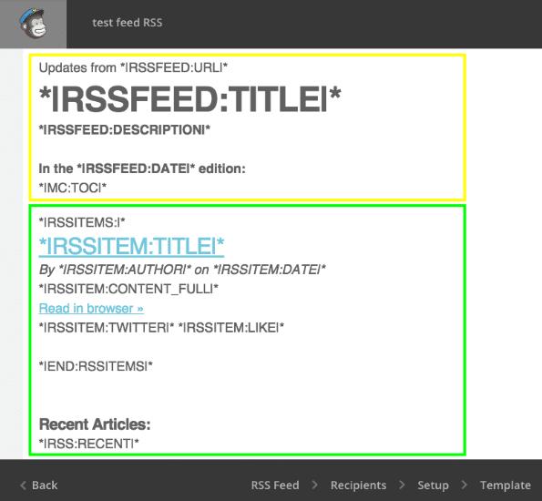 I blocchi di una newsletter creata con MailChimp
