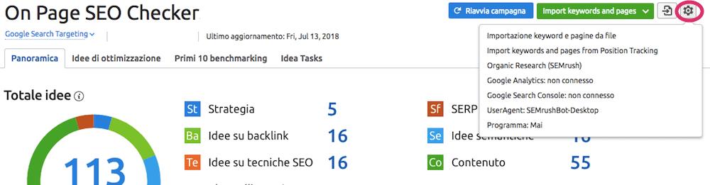 Come modificare le opzioni di configurazione di On Page SEO Checker