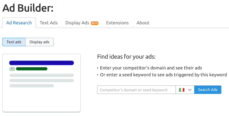 Ad builder per una campagna di marketing politica