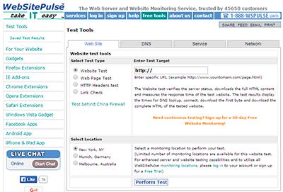 WebSitePulse: test de velocidad de carga web