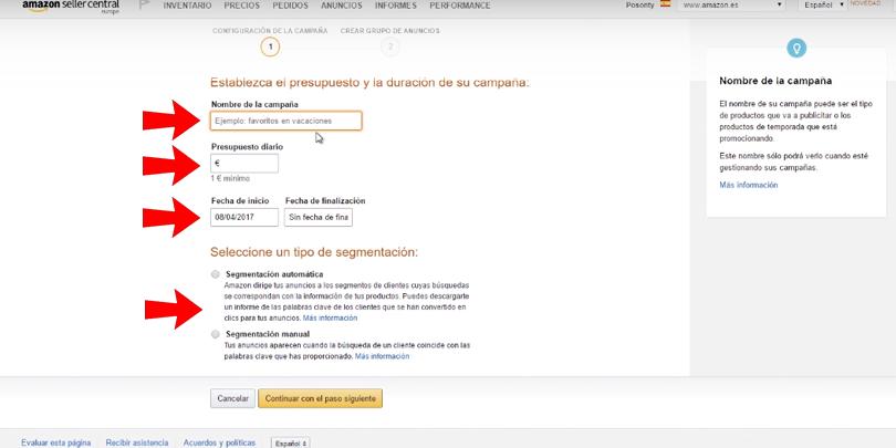 Publicidad en Amazon - Presupuesto, duración y segmentación