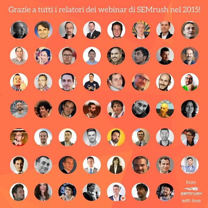 Tutti i relatori dei webinar di SEMrush nel 2015