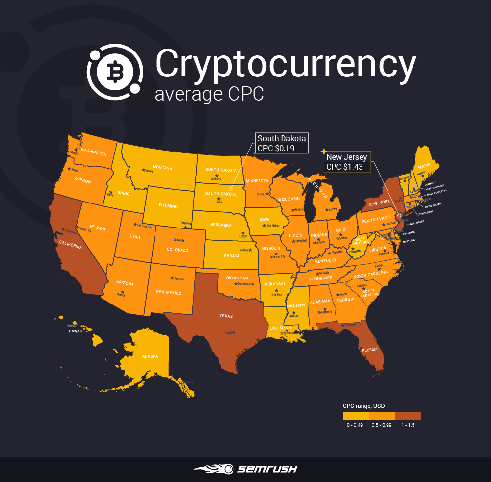 Most and least expensive states to advertise in - Cryptocurrency